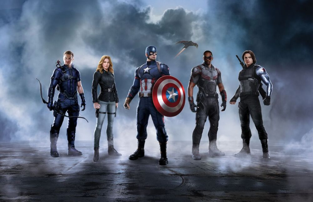 Team Cap: Hawkeye, Scarlet Witch, Captain America, Falcon, Winter Soldier.